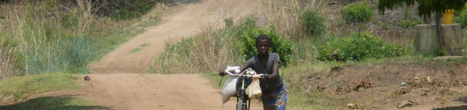 A girl pushes a bicycle along the road in Kampundu village in Masaiti district in Zambia's Copperbelt Province.