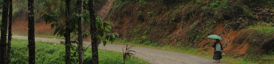 An indigenous Mayan woman holding an umbrella walks along a rural road in the community of Sacanillá, in Cobán Municipality in Alta Verapaz Department.