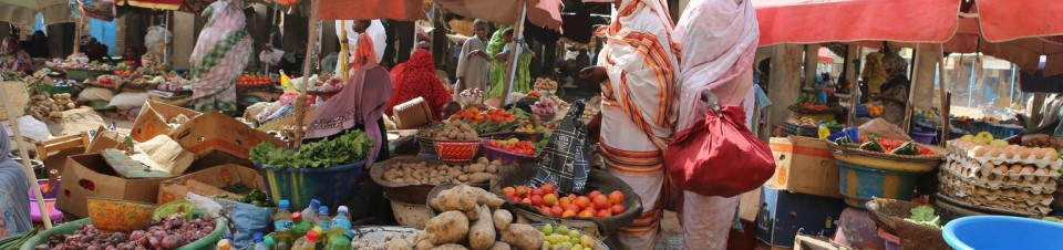 Women shop at a market selling fresh produce and other foodstuffs in the city of Abéché, capital of Ouaddaï Region.