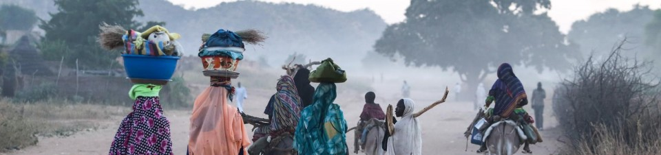 Women and children, carrying food and other items, travel on foot and by donkey on a dusty road in the town of Goz Beïda, the capital of Sila Region.