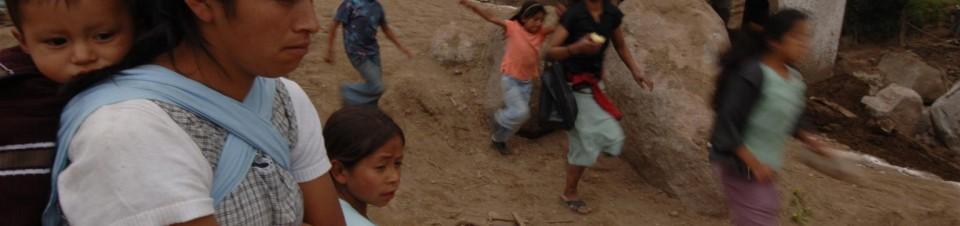 2005. Dommages occasionnés par le passage de l'ouragan Stan dans le village reculé de PIedra Grande à l'Ouest du département de san Marcos.